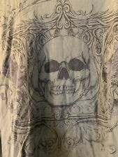 "MMA Green ""extreme"" Skull T Shirt Long Grey Thermal Sleeve"