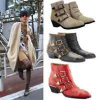 Women Ankle Boots Punk Studded Buckle Low Heel New Vintage Rocker Cowboy Shoe fj