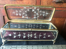 """Large Antique Ormolu French Etched Beveled Glass Jewelry Casket Trinket Box 11"""""""