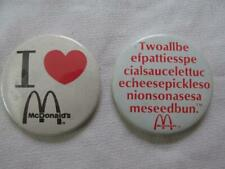 Lot Of 2 Vintage McDonalds Pinback Buttons - I Luv McDonalds/Big Mac Ingredients