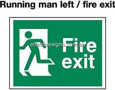 Fire Exit Running Left Sign Safety Signs Australian Made Quality Printed Sign