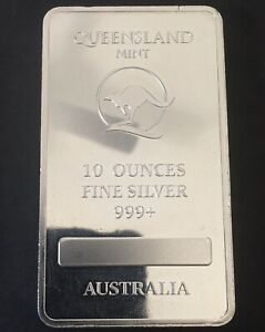 Queensland Mint 10oz fine silver 999+ bullion bar