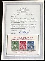Berlin Germany 1949 Block 1 Gestempelt Used Sheet 2200 Euro BPP Attest Schlegel