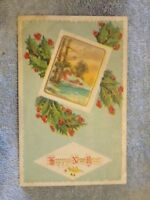 Vintage Postcard Happy New Year, Winter House Scene And Holly