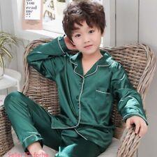 Kids Boys Girls Sleepwear Silk Satin Pajamas Sets Nightwear Loungewear Comfort