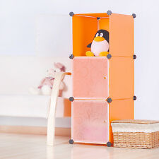DIY Home Storage Cube Cabinet for Clothes Shoes Bags Office, Orange (3) Cubitbox