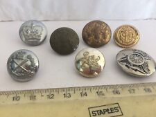 7 VARIOUS OLD MILITARY BUTTONS job lot 6 BRIGHT METAL 1 PLASTIC UNKNOWN ??