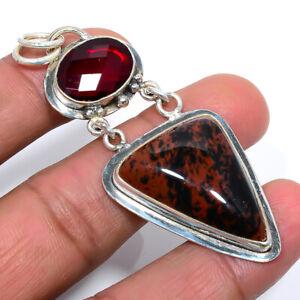 "Mahogany Obsidian & Garnet Ethnic 925 Sterling Silver Pendant Jewelry 2.8"" S1999"