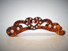 Brown sparkly heart banana hair clip made with rhinestones and swarovski crystal