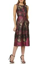 Kay Unger Jacquard Pleated Fit & Flare Midi Dress (size 6)