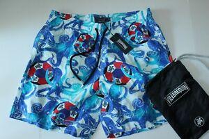 Vilebrequin Swim Suit Trunks Moorea Octopus Blanc MOO8001H $300 XXL 36-38 Waist