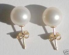 7.5Mm White Aaaa South Sea Pearl Earrings 14k gold Stud