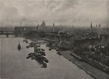 View up the river from The Tower Bridge (High level). London 1896 old print