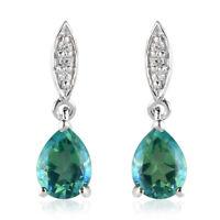 925 Sterling Silver Peacock Triplet Quartz Zircon Dangle Drop Earrings Ct 2.8