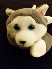 THE BEANIE BABIES COLLECTION TY TOYS NANOOK Gray & White HUSKY PUPPY IN EUC