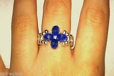 Crystal Silver Plated Elasticated Flower Ring Blue Light Blue Amber Orange