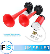 UNIVERSAL CAR VAN DUAL AIR HORN COMPRESSOR KIT TWIN TONE AIR HORNS JEP1