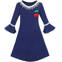 Girls Dress Lotus Leaf Sleeve Cherry Embroidery Everyday Age 3-10 Years