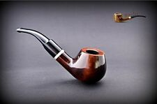 HAND MADE WOODEN SMOKING PIPE for TOBACCO PEAR   no 67  Brown   + Filter
