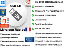 Windows 10+8.1+7| Clé USB 64GB Multi-Boot | Linux+WinPE Tools+PackOffice 2019