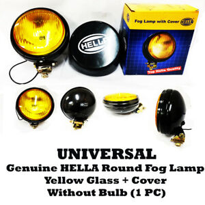 Universal Genuine Hella Round Fog Lamp Yellow Glass + Cover Without Bulb