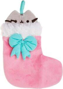 "GUND Pusheen Christmas Holiday Stuffed Plush Cat In Stocking 11"" New Toy"
