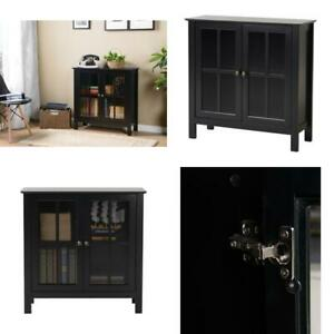 OS Home and Office Black Glass Door Accent and Display Cabinet