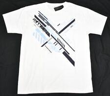 NWT NEW Mens Sean John T-Shirt Angle Lines Graphic Tee White Urban Size L N605