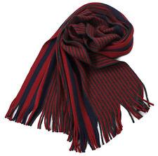 Klassischer Strickschal aus 100% Merinowolle mit Fransen -- rot/schwarz