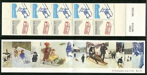 Below face A97 MNH 1994 Norway 10v Booklet CHRISTMAS Sledge 35 NOK