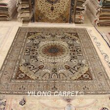 Yilong 8'x10' Large Hand Knotted Silk Carpet Dome Pattern handmade Area Rug 627B