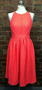 Whistles Neon Coral Corrine Lace Occasion Midi Dress Size 10 RRP £175 Summer