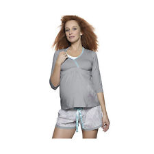 Hot Milk DWHV Grey Cotton Maternity Drop Cup Feeding Top S