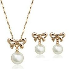 Rose Gold Plated Round White Crystal Pearl-Pendant Necklace & Earring Gift Set