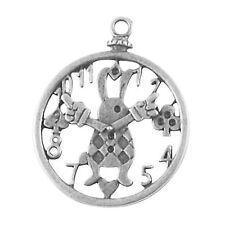 2 x Reloj de Conejo de Plata Tibetana Dijes Colgante Alicia en el país de las maravillas