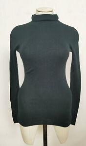 Jigsaw Silk Cotton Polo Neck Sweater Deep Green Size XS RRP £90.00