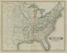 United States & the Republic of Texas, with railways & canals. LIZARS 1842 map