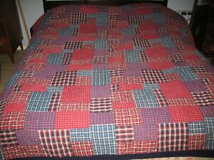 Vintage Ralph Lauren Polo Double/Queen Quilt Blanket Red Blue Plaid