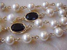 "Vintage Necklace Swarovski Crystal Elements Cream Beads 18K GP 16"" Chain Qualit"