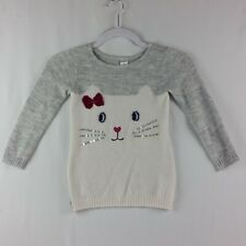 Carters Girls Sweater Size 4T Long Sleeve Cat Picture Sequence Whiskers Gray