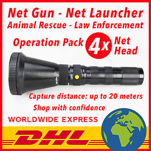NET GUN - 1 SHOOTER - 4 NET HEAD - 30 PCS CO2 CARTRIDGES - ANIMAL CATCHER
