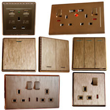 NEW MODERN 13A PLUG GOLD 1/2 GANG DECORATIVE LIGHT SWITCHES WITH USB SOCKET | UK
