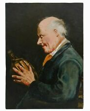 MID-LATE 19TH C EUROPEAN O/B SEATED OLD MAN HOLDING WINE BOTTLE UNFRAMED