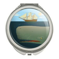 Sperm Whale Under Ship Compact Travel Purse Handbag Makeup Mirror