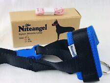 Dog Muzzle Loop Large Blue & Black Nylon Safety Training Restraint Niteangel