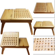 FOLDABLE BAMBOO MESH BREAKFAST BED TABLE LAPTOP WOODEN TRAY SERVING DESK PORTABL