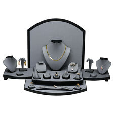 LOTS 26 Pcs GREY LEATHER DISPLAY SET SHOWCASE COUNTER TOP JEWELRY DISPLAY STAND