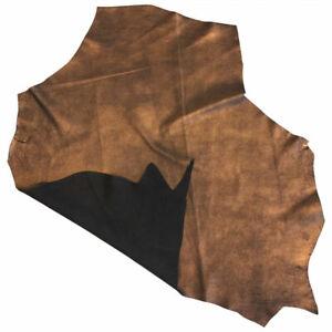 Black Leather Hides Genuine Calfskin Copper Metallic Material Craft Fabric 853