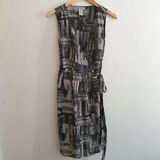 GAP Womens Size 10 Grey Check Pattern Silk Wrap Dress Formal Work Career Wedding