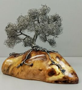 """Silver Wire Bonsai Tree Sculpture On Wood  Base 6"""" tall - Handcrafted"""